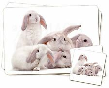 Cute White Rabbits Twin 2x Placemats+2x Coasters Set in Gift Box, AR-5PC