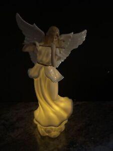 "13"" Lighted Porcelain Angel Flute Figurine Roman Inc /Valerie Parr Hill"