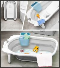 New Karibu Baby Folding Bath Infant to Toddler Anti Slip Bathtub - Grey White