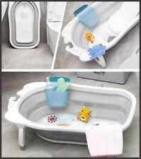 NUOVO Karibu bambino pieghevole da bagno neonato per bambino antiscivolo vasca da bagno-bianco grigio