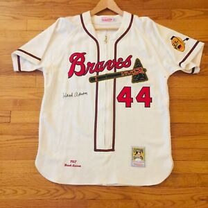 Hank Aaron Signed Autograph Baseball Jersey, Mitchell & Ness, JSA COA