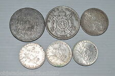 LOT 6 PIECES ARGENT 5 FRANCS NIII, 5 APAX, 100, 2 ET 1 FRANCS REF15041611-N°9