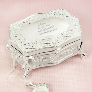 Personalised Silver Luxury Jewellery Trinket Box Any Message Birthday Gift