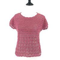 Sundance Catalog Sweater Size S Dusty Rose Pink Open Knit Crochet Top