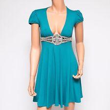 NWT Ingwa Melero Teal Jersey Cap Sleeve Beaded Dress 47 TCM BY Small $214