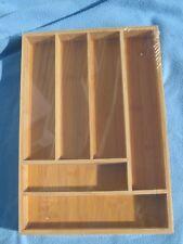 New Drawer Organizer Bamboo Large 6 Slot Silverware Flatware Tray 17 Inch
