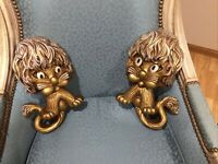 Vintage Pair 1970s HOMCO Lion wall plaques Childs Room decor Gold resin