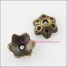 35 New Connectors Flower Antiqued Bronze Tone End Bead Caps 8mm