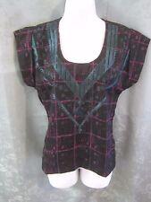 ecote Blouse Size XS NWT Southwestern Embroidery on Plaid