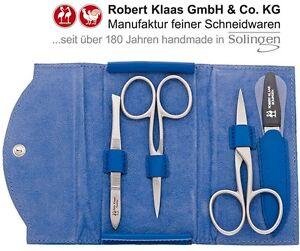 ROBERT KLAAS HANDMADE SOLINGEN CUTICLE NAIL SCISSORS 4 MANICURE SET CASE BLUE E.