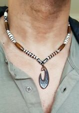 Men's hand made necklace,yak bone hand carved pendant,7 sizes,leather,tribal
