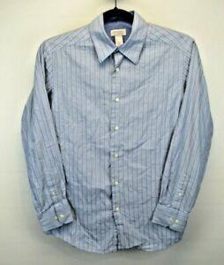 Concepts By Claiborne L/S Men's Large Button Up Shirt Blue w/Black Strip Pattern
