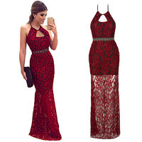 Sexy Women Lace Long Formal Evening Party Cocktail Dress Bridesmaid Prom Gown