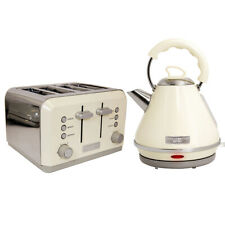 Charles Bentley Cream & Grey 3kW 1.7 Pyramid Kettle And 4 Slice Toaster Set New