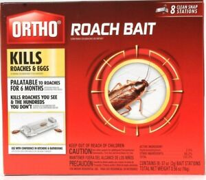 Ortho Kills Roaches & Eggs Up To 6 Months 8 Ct Clean Snap Stations Roach Bait