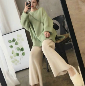 Women Winter Knitted Sweater Wide-Leg Loose Pants 2Pcs Loose Winter Thicken Suit