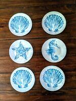 "Coastal Melamine Plates Set of 6 Appetizer Dessert 6"" Starfish Scallop Shells"