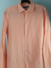 Marcs Slim Fit European Cotton Fabric Check Plaid Dress Shirt Sz Small
