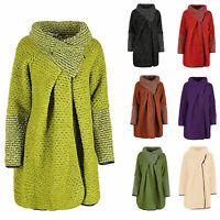Womens Italian Wool Spot Wool Zip Collar Cardigan Coat Coatigan Plusize UK 16-20