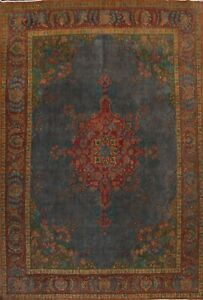 Antique Over-dye Floral Oriental Traditional Area Rug Hand-knotted Wool 10x13 ft