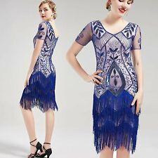 US STOCK Vintage 1920s Unique Art Deco Fringed Sequin Dress 20s Flapper beaded