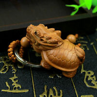 Dragon Turtle Statue Wood 3D Carved Chinese Wealth Sculpture Pendant Key Chain