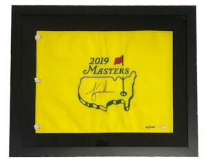 TIGER WOODS Autographed Framed 2019 The Masters Pin Flag UDA LE 1000