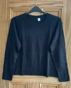 Ex H&M Ladies Brand New Black Crew Neck Jumper Size 6 - 22