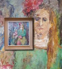 Dame im grünen Pullover. Expressionistisches Portrait im Galerierahmen 106x96cm
