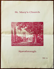 St. Mary 'S Église, Sprotbrough, Yorkshire, Angleterre Un Court Guide C.1970's