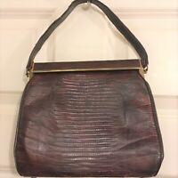 Vintage STERLING USA Genuine Lizard Leather Brown Ladies Woman's Handbag Purse