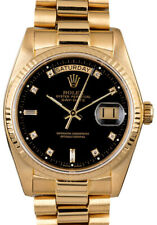 Rolex Day-Date President 18k Yellow Gold Black Diamond Dial 36mm Watch 18038