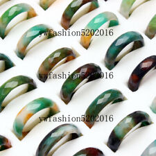 20Pcs Wholesale Ring Lots Natural Green Agate Gemstone Jewelry Band Rings Gift