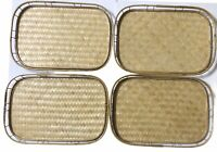 Vintage Bamboo Trays Woven Rattan Lot of 4 Wicker Tiki Bar Trays 19 x 13