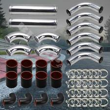 "3"" DIY Chrome Aluminum 12x Turbo Intercooler Piping Kit Black Coupler Universal"