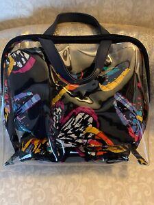 Vera Bradley Black Butterfly Flutter 4 Piece Cosmetic Set Organizer Makeup Bags