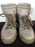 Brunello Cucinelli Gray Lace Up Hi Top Sneakers Runners Shoes Size 35.5 5.5 US