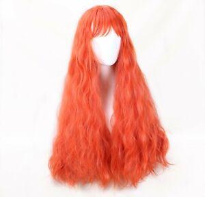 Lolita Harajuku Rhapsody Cosplay Wigs Long Orange Curly Wavy Hair Bangs Full Wig