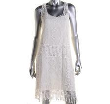 NEW Womens Stunning Ralph Lauren Ivory Crochet Sless Casual Party Dress AU12-14