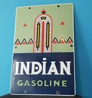 VINTAGE AMERICAN INDIAN GASOLINE PORCELAIN SERVICE INDIAN CHIEF GAS SERVICE SIGN