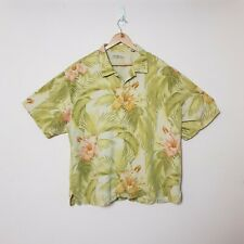 Tommy Bahama Mens 2XL XXL Hawaiian Palms Floral Embroidered 100% Silk Shirt