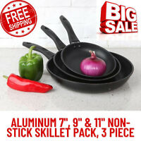 "Aluminum 7"",9""& 11""Non-Stick Skillet Pack,Lightweight,Cool-Touch Handle, 3 Piece"