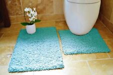 TUMBLE TWIST 100% Cotton Soft Bath & Toilet Pedestal Mat 2 Piece Bathroom Set