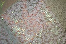 Blue Sequins Paisley Non Stretch Lace #4 Polyester Apparel Fabric BTY