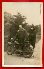 MOTORCYCLE, WOMAN AND MAN VINTAGE PHOTO POSTCARD 8