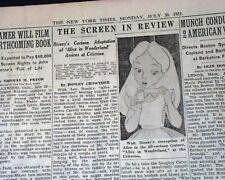 ALICE IN WONDERLAND Walt Disney Opening Day MOVIE REVIEW & Ad 1940 NY Newspaper