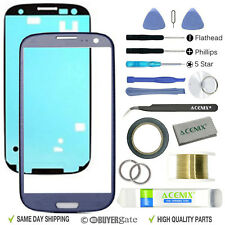 SAMSUNG GALAXY S3 Blue Replacement Screen Front Glass lens Repair Kit+ 2mm Tape