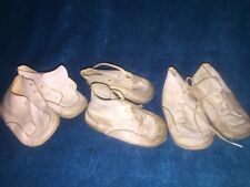 3 PAIRS OF WHITE WEE WALKER VINTAGE BABY SHOES DOLLS