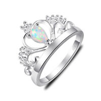 Gorgeous Silver Woman Romantic White Fire Opal Gems Silver Crown Rings Sz 7 8 9
