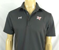Under Armour Grey Polo Shirt Sf Logo Mens Small Ss Polyester Spandex